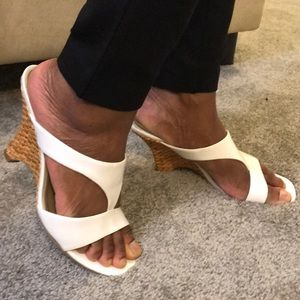 White Patent Leather Sandal Wedges (7.5)